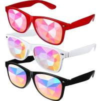 Fiada Festivals Kaleidoscope Rainbow Sunglasses, Prism Sunglasses Goggles Crystal Lenses Rave Festival Party EDM Sunglasses (Style Set 2), Medium