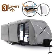 XGEAR Travel Trailer RV Cover Fits 30'-33' Water-Repellent Fabric with Thick 3-ply Top Windproof Buckles & Adhesive Repair Patch