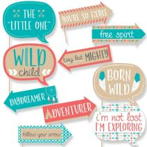 Funny Be Brave Little One - Boho Tribal Baby Shower or Birthday Party Photo Booth Props Kit - 10 Piece