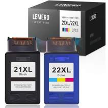 LEMERO Remanufactured Ink Cartridge Replacement for HP 21 21XL 22 22XL to use with Deskjet F380 F2210 F4135 OfficeJet 4315 1410 (Black, Tri-Color, 2-Pack)