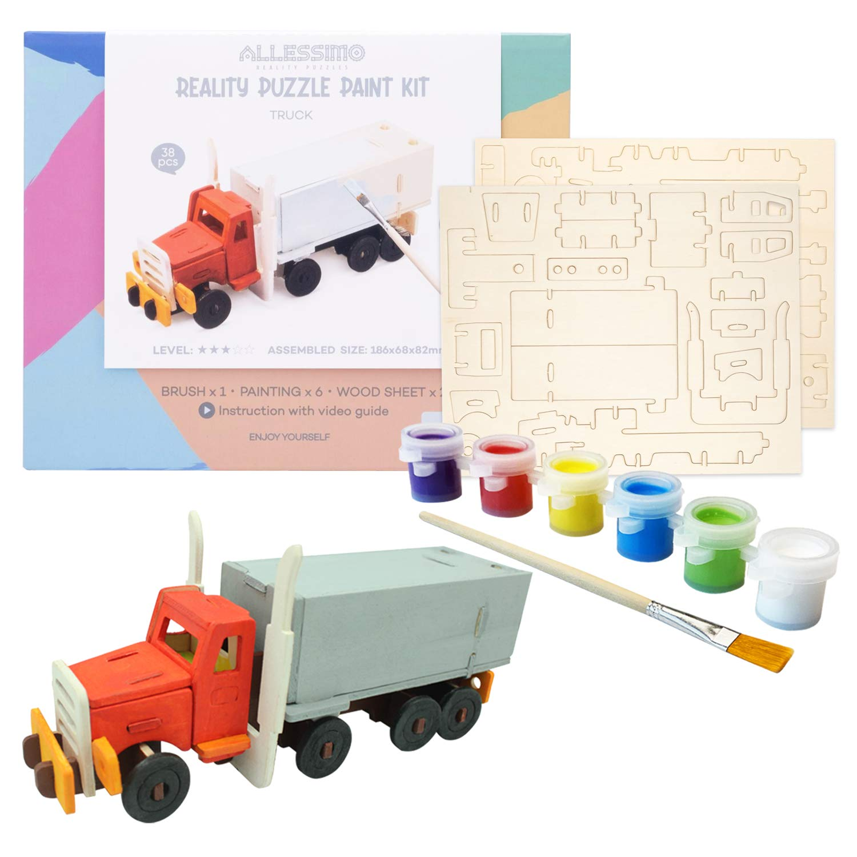 Allessimo Reality Puzzles 3D Wooden Model Paint Kit (Truck - 38 pc Puzzle) Toys for Kids & Adults DIY Puzzle Build 3D Puzzles Paint Kits