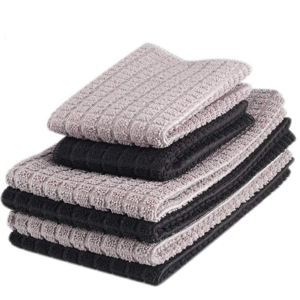 Zksanmer 6 Packs Microfiber Kitchen Dish Cloth and Towel Set, Two Dish Cloth with Mesh Scour Side 12 x 12 Inch, Four Dish Towels 16 x 19 Inch, Absorbent and Fast Dry (Black and Gray Colors)