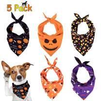 Whaline 5 Pack Halloween Dog Bandanas, Triangle Pet Scarfs Washable Pet Neckerchief Dog Bibs, Pumpkin, Ghost, Candy Corn and Bones Pet Bandanas