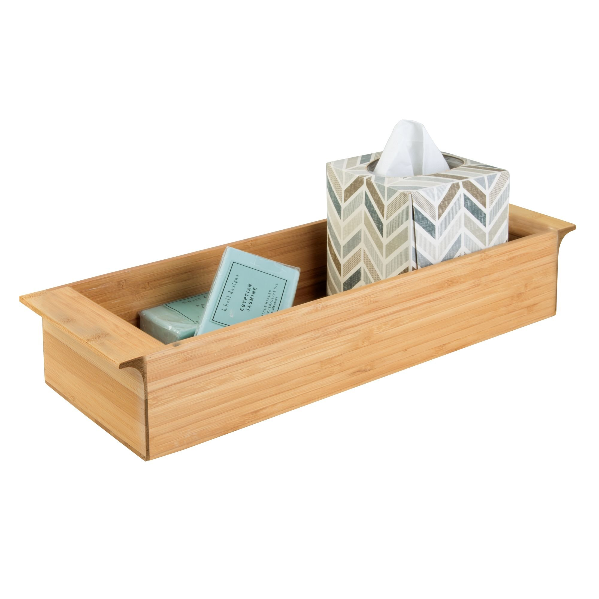 """iDesign Formbu Wood Tank Top Storage Handles, Wooden Organizer for Tissues, Candles, Soap, Hand Towels, Toilet Paper, 16.15"""" x 6"""" x 3"""", Deep Tray"""