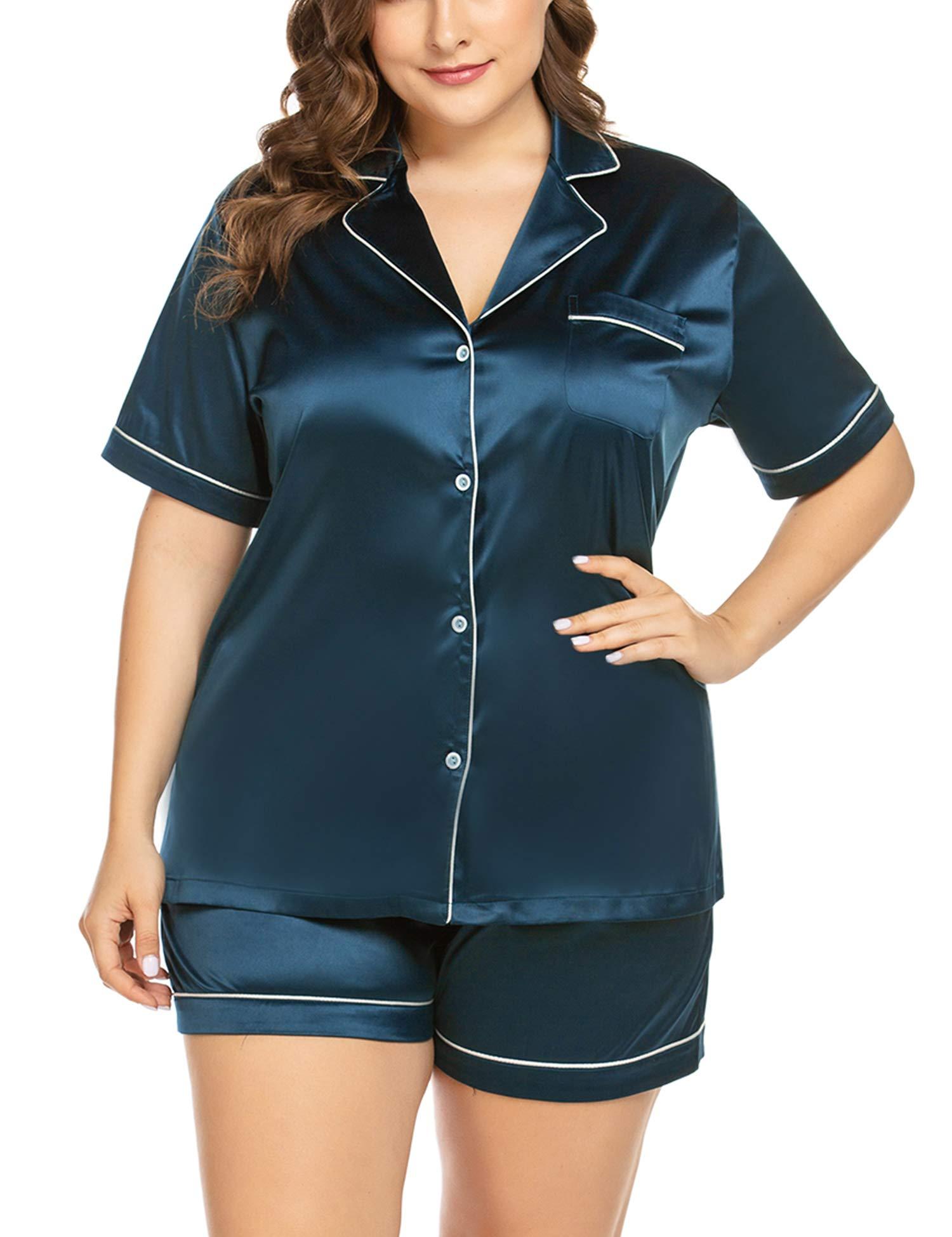 IN'VOLAND Women's Plus Size Pajama Set Short Sleeve Sleepwear Satin Nightwear Loungewear Sets with Pocket