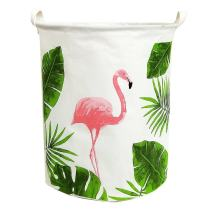 TIBAOLOVER19.7 Large Sized Waterproof Foldable Laundry Hamper Bucket,Dirty Clothes Laundry Basket, Bin Storage Organizer for Toy Collection,Canvas Storage Basket with Stylish Cartoon Design(Flamingo)
