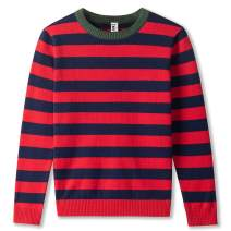 Kid Nation Boys' Crew Neck Pullovers Striped Cute Sweaters for Toddler Long Sleeve
