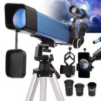 Telescope for Adults Astronomy, 2021 Latest Metal Tube Refractor Telescope with 60mm Aperture 500mm AZ Mount Ideal for Beginners, Stable Tripod and HD View