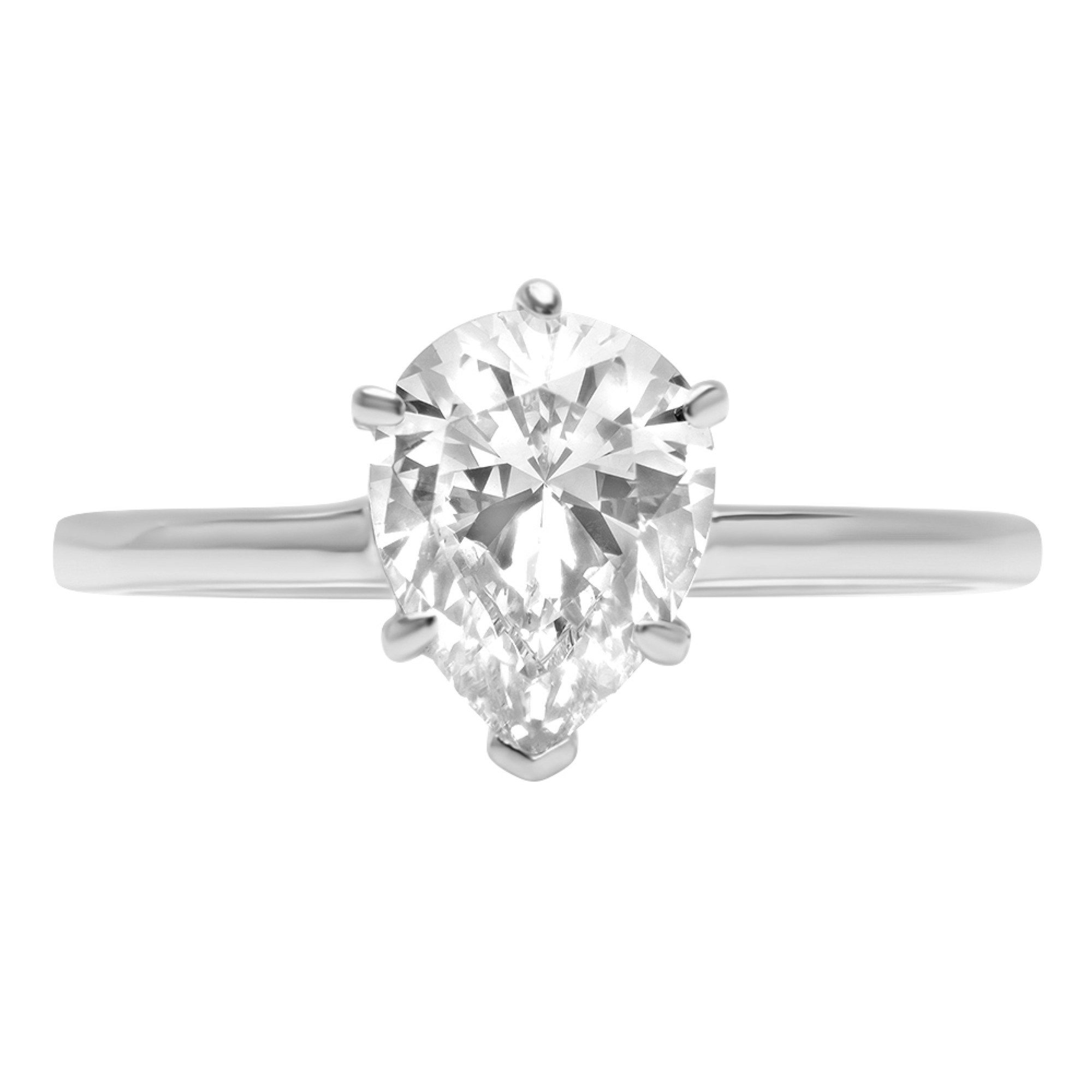 0.95ct Brilliant Pear Cut Solitaire Highest Quality Moissanite Ideal D 6-Prong Statement Ring in Solid Real 14k White Gold for Women