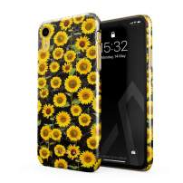 BURGA Phone Case Compatible with iPhone XR - Yellow Sunflowers Vinatge Flowers Floral Print Pattern Fashion Designer Cute Case for Women Thin Design Durable Hard Plastic Protective Case