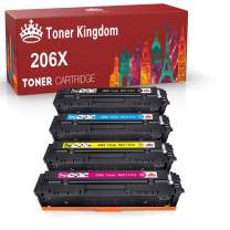 Toner Kingdom Compatible Toner Cartridge Replacement for HP 206X W2110X W2111X W2112X W2113X for HP Color Laserjet Pro M255dw MFP M283fdw M283cdw M282nw No Chip (Black Cyan Yellow Magenta,4-Pack)