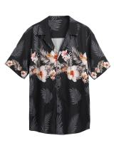 COOFANDY Mens Flamingos Casual Shirt Floral Print Short Sleeve Button Down Shirt Beach Hawaiian T Shirt