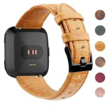 """EZCO Leather Bands Compatible with Fitbit Versa/Versa 2 / Versa Lite, Vintage Genuine Leather Band Replacement Strap Wristband Accessories Man Women 5.5""""-7.8"""" Wrist Compatible with Versa Smart Watch"""
