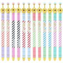 Ipienlee Crown Desigh 0.5 MM Black Ink Gel Pens for School, Office or Family Use, 12pcs