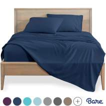Bare Home California King Sheet Set - 1800 Ultra-Soft Microfiber Bed Sheets - Double Brushed Breathable Bedding - Hypoallergenic – Wrinkle Resistant - Deep Pocket (Cal King, Dark Blue)