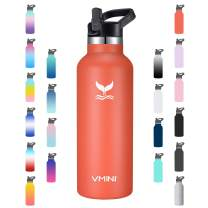 Vmini Water Bottle - Standard Mouth Stainless Steel & Vacuum Insulated Bottle, New Straw Lid with Wide Handle, Coral & 22 oz