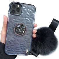 iPhone 11 Pro Case,Lozeguyc iPhone 11 Pro 5.8 Inch Clear Crystal TPU Case Bling Diamond Ring Stand Cover Soft Shockproof Furry Ball Strap Case for Girls Women-Black
