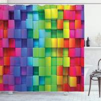 "Ambesonne Colorful Shower Curtain, Rainbow Colored Contour Display Futuristic Block Brick-Like Geometric Artisan, Cloth Fabric Bathroom Decor Set with Hooks, 75"" Long, Rainbow Colors"