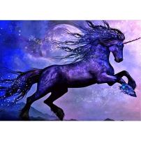MXJSUA 5D Diamond Painting Kit by Numbers DIY Crystal Rhinestone Arts Craft Picture Supplies for Home Wall Decor,Blue Flash Unicorn - 12x16inch