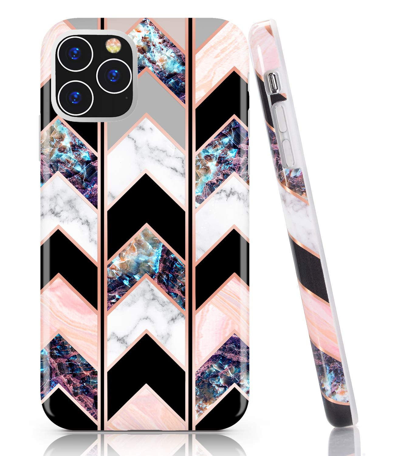 BAISRKE iPhone 11 Pro Case, Shiny Rose Gold Wave Geometric Marble Case Slim Soft TPU Rubber Bumper Silicone Protective Phone Case Cover for iPhone 11 Pro 5.8 inch (2019) [Black]