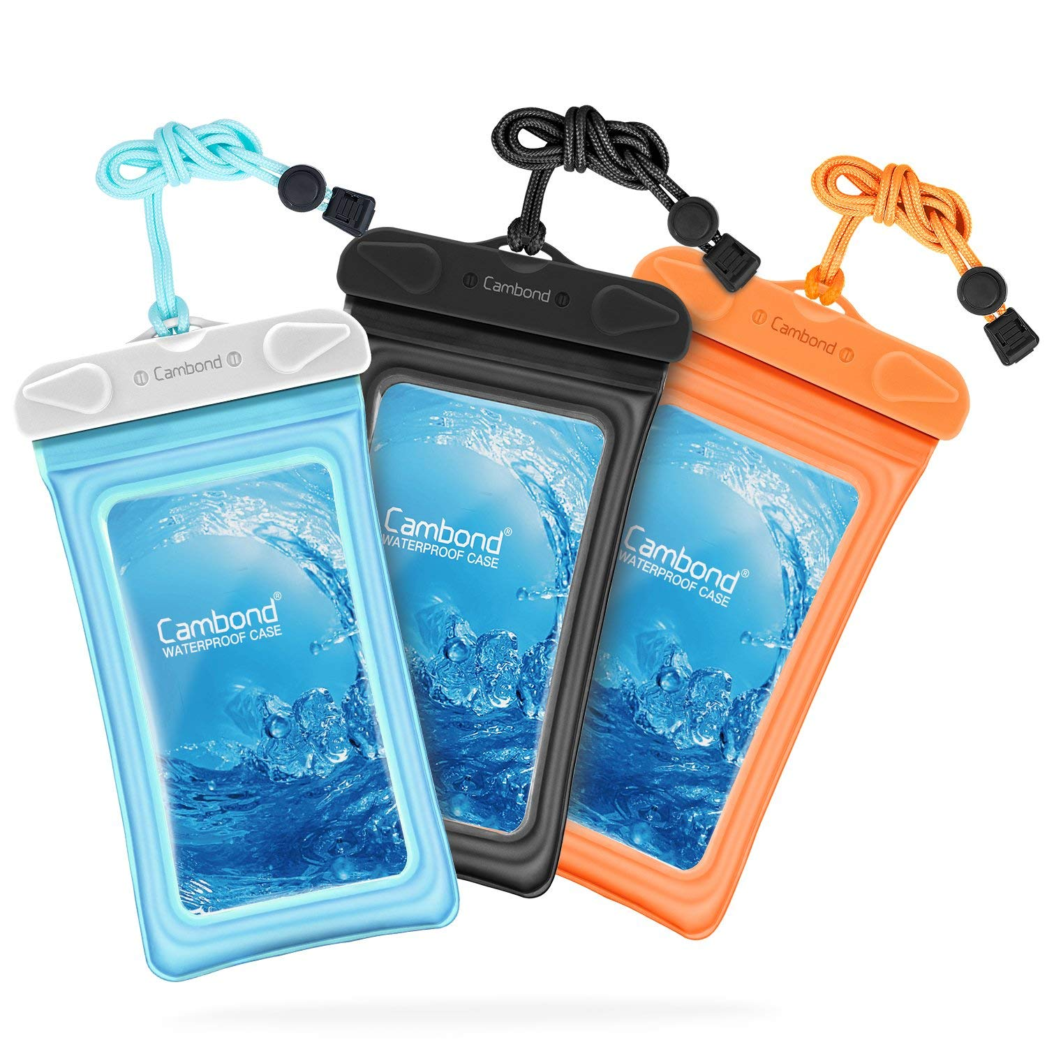 Cambond Waterproof Phone Case, 3 Pack Floating Waterproof Phone Pouch, Transparent TPU Water Proof Cell Phone Pouch Dry Bag with Lanyard (Black/Blue/Orange, 3 Pack)