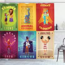"""Ambesonne Circus Shower Curtain, Circus Characters with Trained Animals Strong Man Trapeze Artist Retro Show Design, Cloth Fabric Bathroom Decor Set with Hooks, 75"""" Long, Purple Green"""
