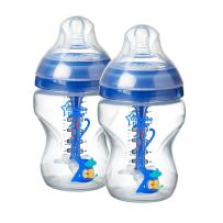 Tommee Tippee Advanced Anti-Colic Baby Bottle, Slow Flow Breast-Like Nipple, Heat-Sensing Technology, BPA-Free - Blue - 9 Ounce, 2 Count