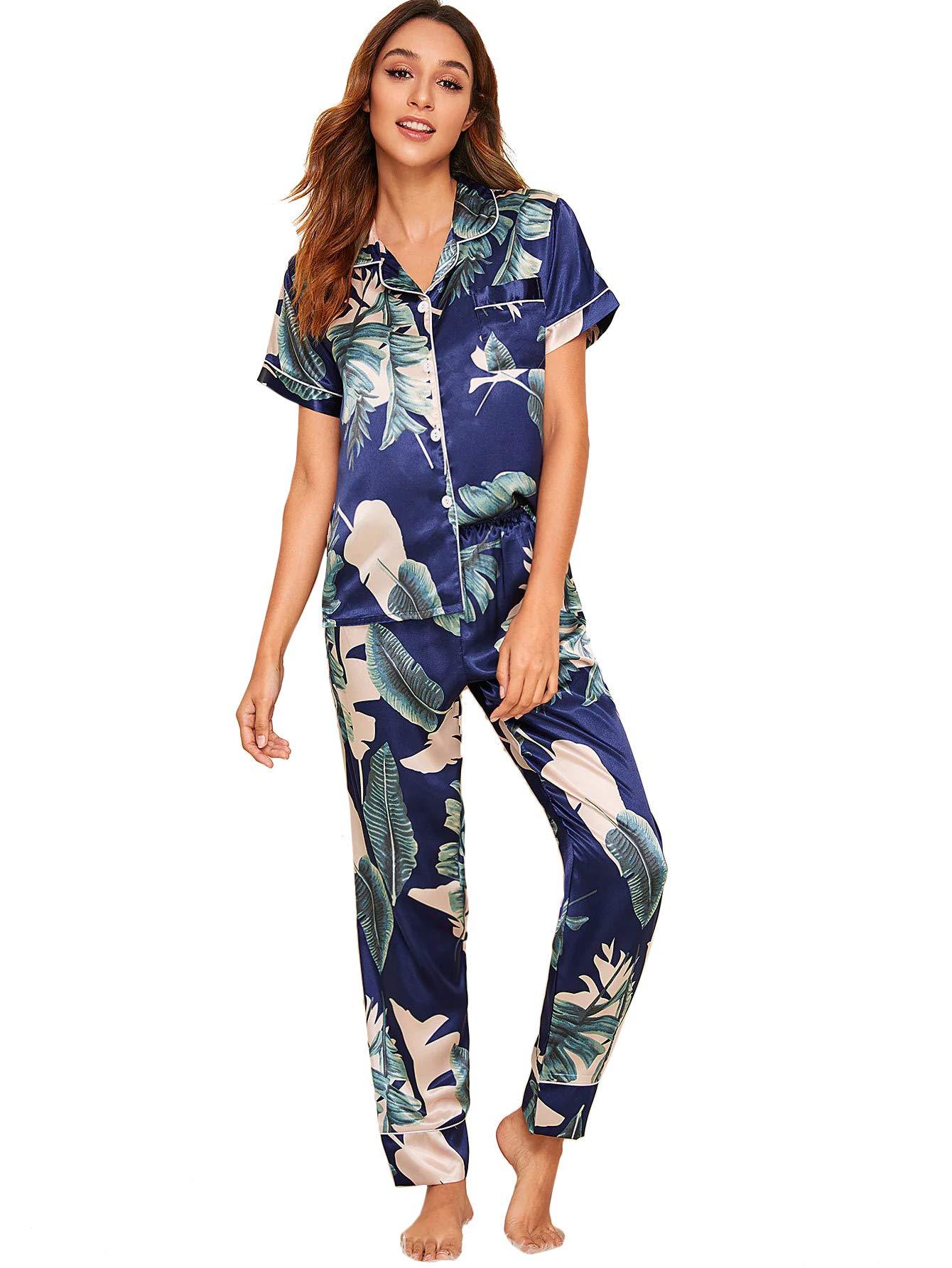 Milumia Womens Pajamas Set Button Down Sleepwear Short Sleeve Nightwear Loungewear Pants