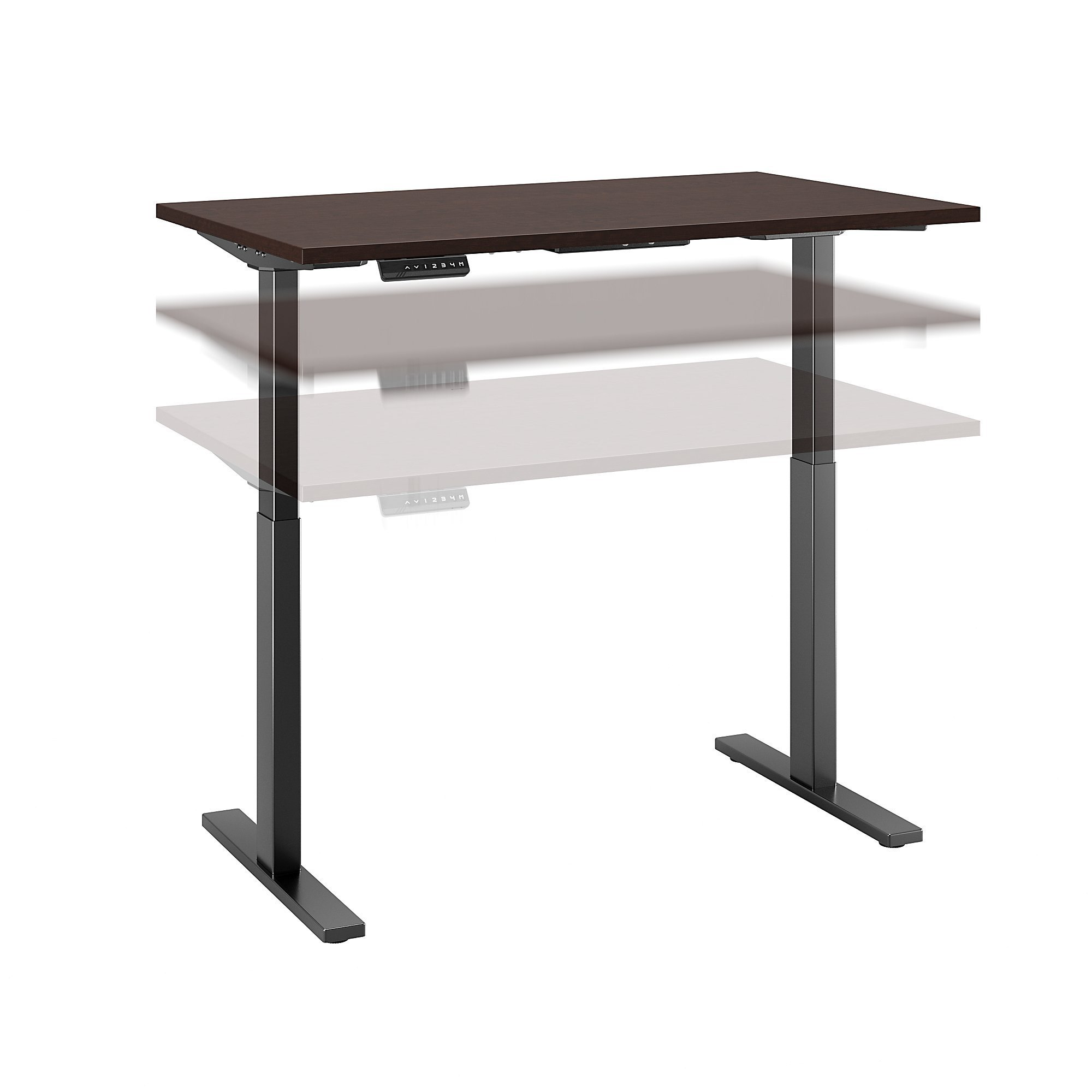 Move 60 Series 48W x 24D Height Adjustable Standing Desk in Mocha Cherry Satin with Black Base