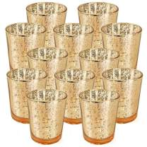 Just Artifacts 2.75-Inch Speckled Mercury Glass Votive Candle Holders (12pcs, Gold)