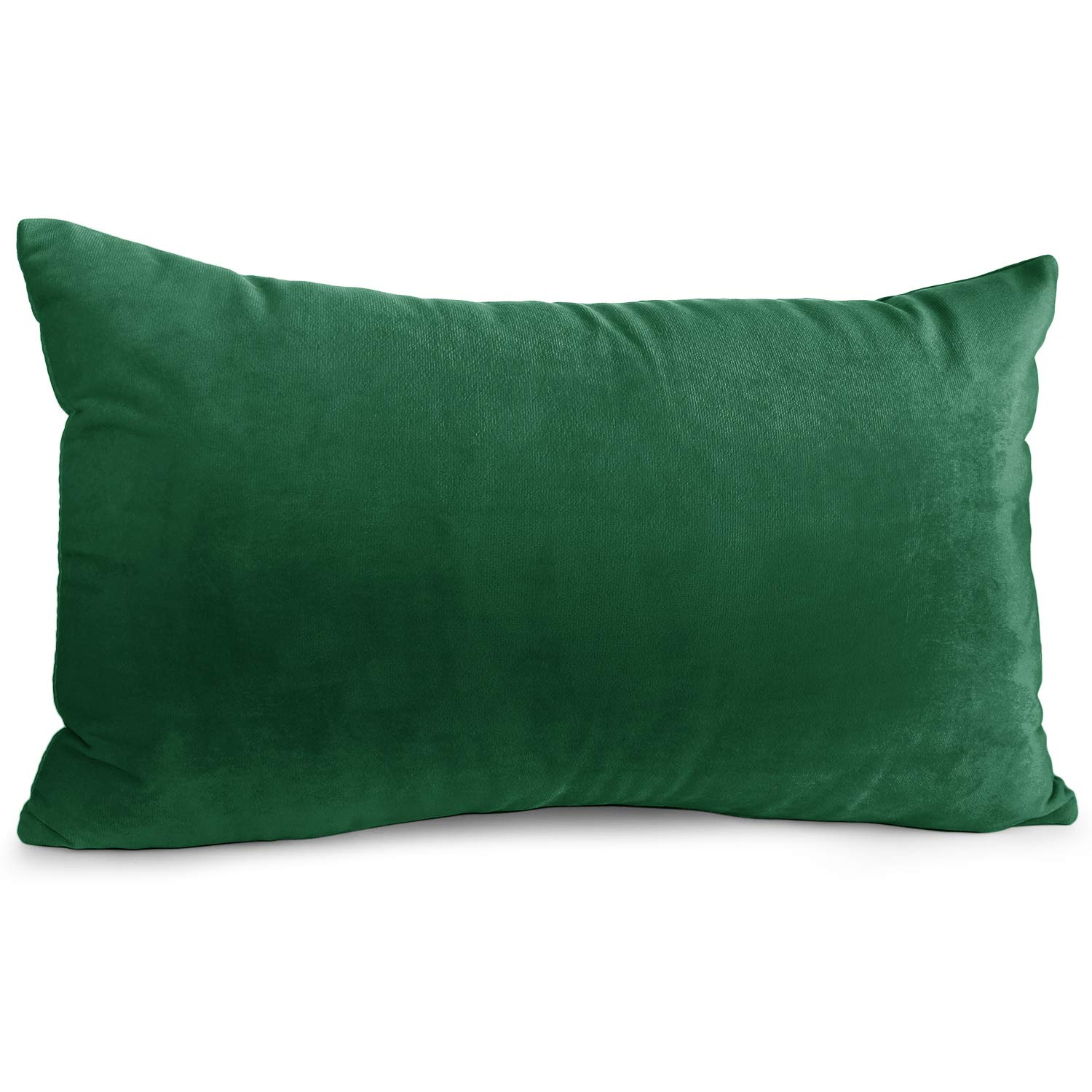 """Nestl Bedding Throw Pillow Cover 12"""" x 20"""" Soft Square Decorative Throw Pillow Covers Cozy Velvet Cushion Case for Sofa Couch Bedroom - Hunter Green"""