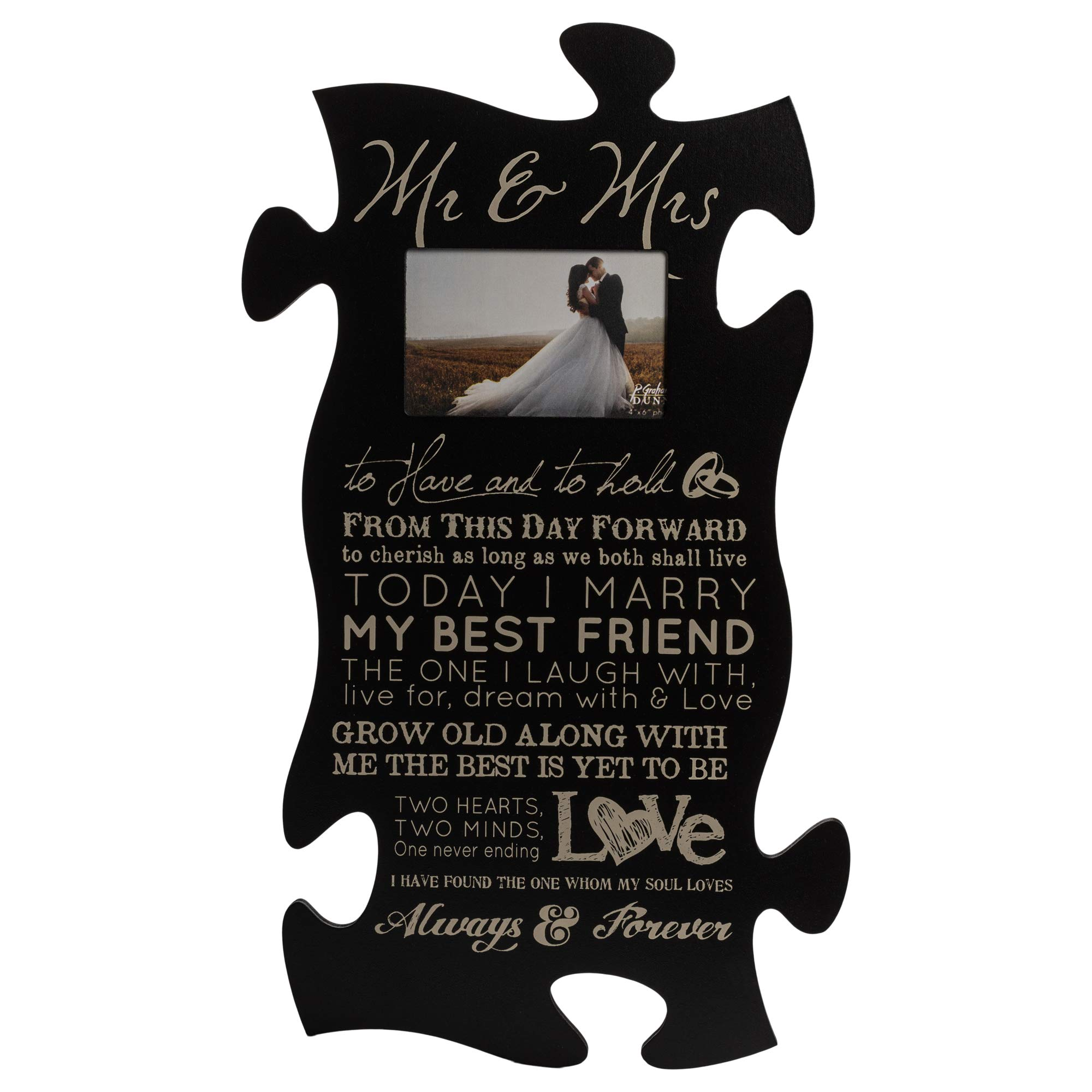 P. Graham Dunn Mr & Mrs Always & Forever 4x6 Photo Frame 22 x 13 Wood Wall Art Puzzle Piece Plaque Frame