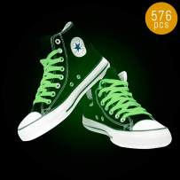 Lumistick Glow in The Dark Shoelaces - Luminous Lace Glow Sneakers Fluorescent Shoe - Illuminate Bright Glowing Casual Shoelaces Party Favor (576 Shoelaces)