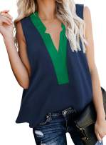 PINKMSTYLE Women's Color Block V Neck Tank Tops Summer Sleeveless Shirts Blouse (S-XXL)