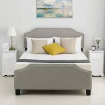 LAGRIMA Upholstered Linen Platform Bed | Curved Shape Headboard, Footboard and Metal Frame with Sticky Wood Slat Support | Khaki, Full