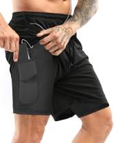 Yidarton Men's Sports Shorts 2-in-1 Running Gym Workout Quick Drying Breathable Training Joggers Shorts with Phone Pockets