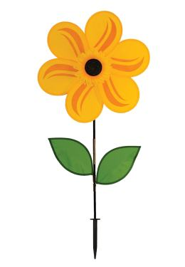 In The Breeze 2777 Yellow Sunflower Wind Spinner With Leaves 19 Inch
