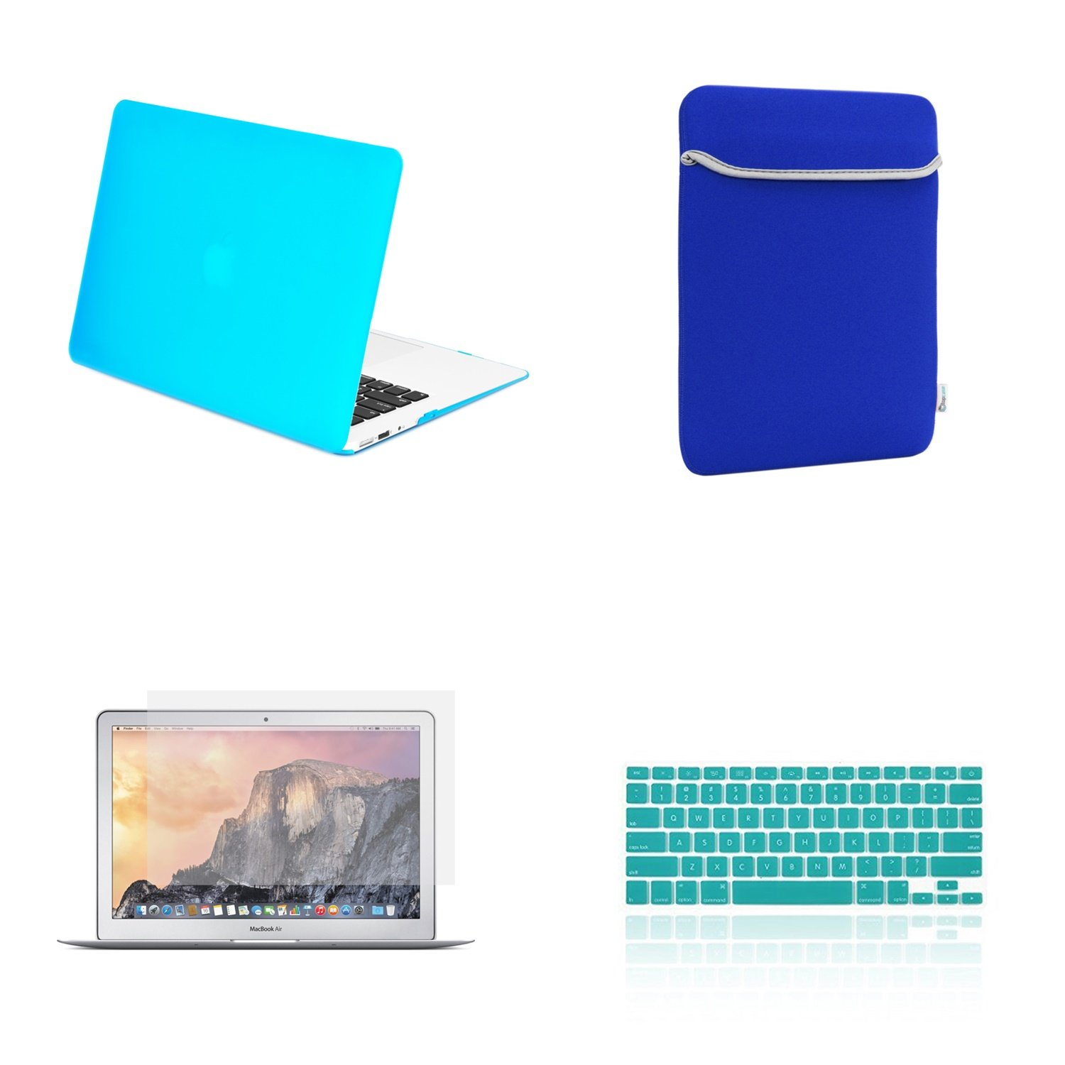 """TOP CASE - 4 in 1 Essential Bundle Rubberized Hard Case, Keyboard Cover, Screen Protector, Sleeve Bag Compatible MacBook Air 13"""" Model: A1466 & A1369 (Older Version, Release 2010-2017) - Aqua Blue"""