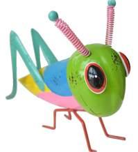 GIFTME 5 Metal Yart Art Garden Statues Grasshopper Figurines for Outdoor Patio Yard Decorations Locust Decor,9.5 Inch Green