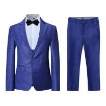 Boyland Boys Plaid Suits 3 Pieces Slim Fit Casual Jacket Tux Vest Pants Party Wedding