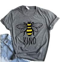 Zicotour Women Be Kind T Shirt Cute Casual Tops Inspirational Bees Graphic Tees