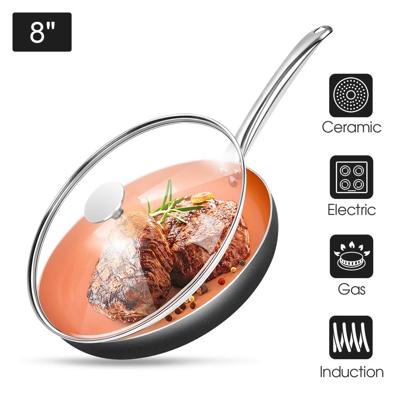 """8"""" Copper Nonstick Frying Pans with Lid - Chef's Classic Skillet with 100% PFOA-Free, Saucepan Ceramic Titanium Coating with Frying Pan, Professional Round Aluminum Saute Pan for Gas, Electric Cooktop"""