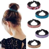 Rhinestone Hair Clip for Women - 5Pack Half-balloon Nest Expanding Hairpin Girls Hair Claws Hair Bun Holders Accessories (mixed 5 color-2)