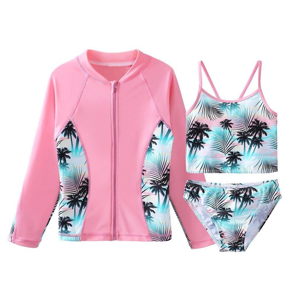 TFJH E Girls Swimsuit SPF UPF 50+ UV 3PCS Rash Guard Swimwear Sunsuits Zipper