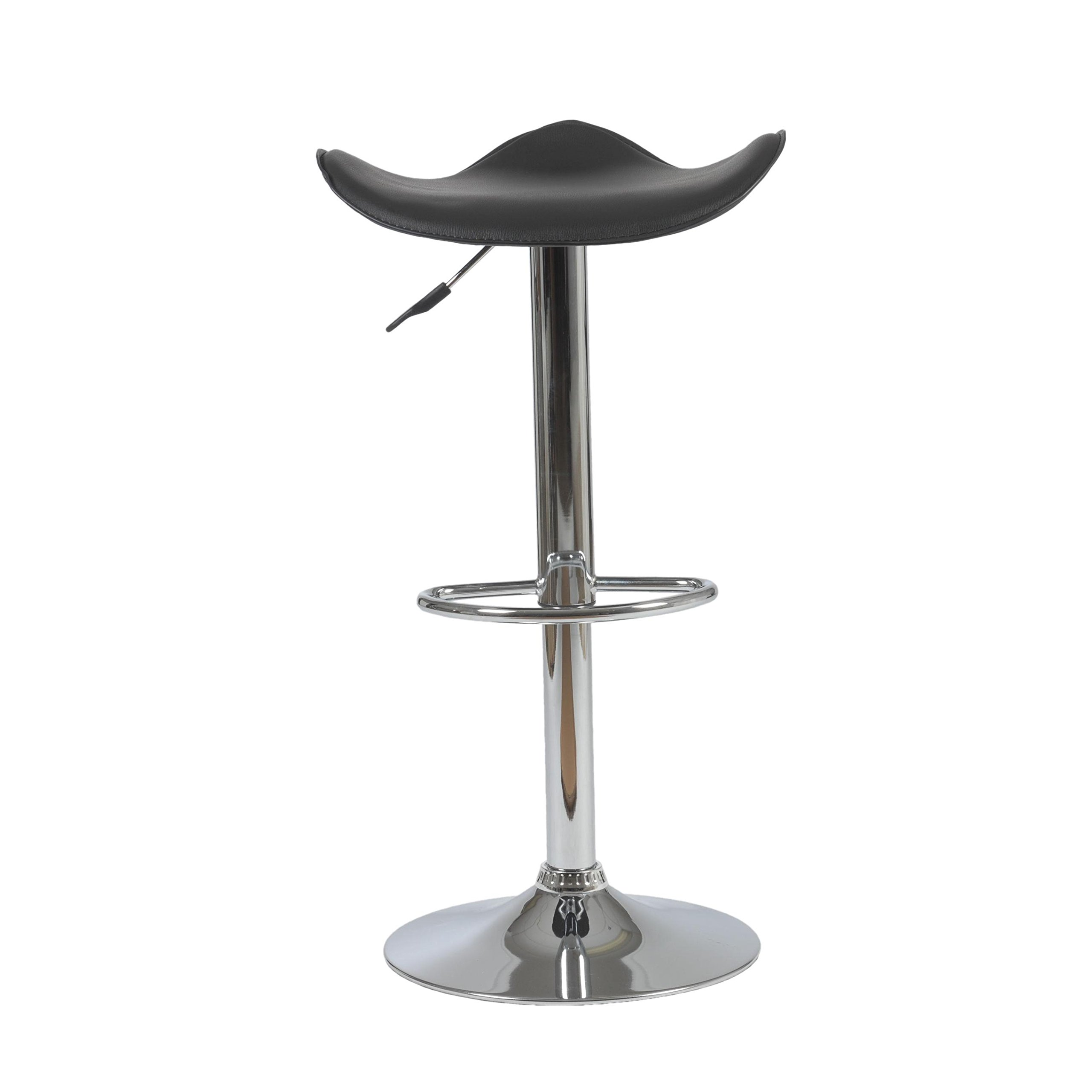 Eurø Style Fabia Height Adjustable Contemporary Stool, Black Leatherette Seat