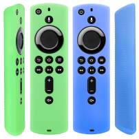 [2 Pack] Semi-Transparent Remote Case for Fire TV Stick 4K / Fire TV Cube/Fire TV (3rd Gen) Compatible with All-New 2nd Gen Alexa Voice Remote Control (Translucent Blue Green)