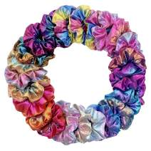 Miuance 24 Pack 8 Colors Hair Scrunchies Hair Ties,Large Chiffon Flower Hair Bands, Shiny Metallic Scrunchies Hair Ropes, Hair Accessories Ropes Scrunchie for Women & Girls (24 pack 2)