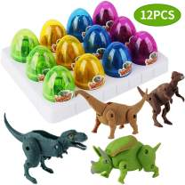 12 Pack Dinosaur Toys for Kids, Unique Easter Eggs Basket Stuffers Deformable Dinosaur Desktop Decorations Eggs, Party Kids Gifts Toys and Science STEM Learning for Boys Girls