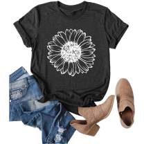 Women Sunflower Graphic T-Shirt Retro Sunshine Floral Short Sleeve Summer Garden Tees