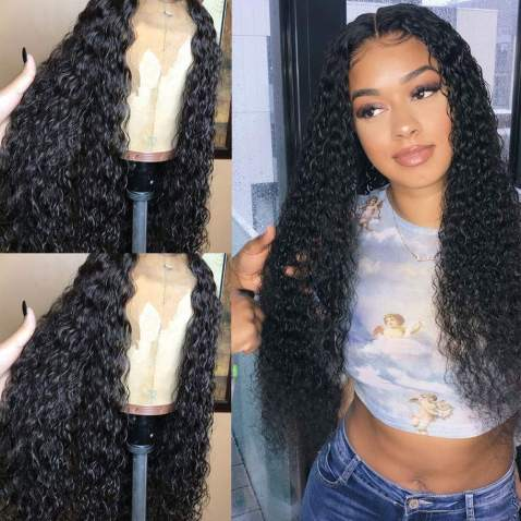 """Evlynn Hair Curly Wigs Lace Front Wigs Wet and Wavy Synthetic Black Loose Curly Wigs Heavy Density Glueless Lace Wigs for Women Synthetic Wigs(24"""" Black Curly wavy Lace Front Wig)"""